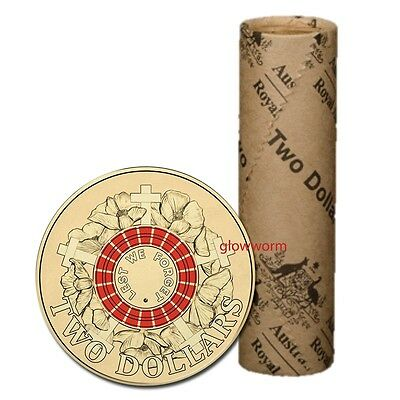 2015 Lest We Forget ANZAC Day Red Colour $2 Mint Roll