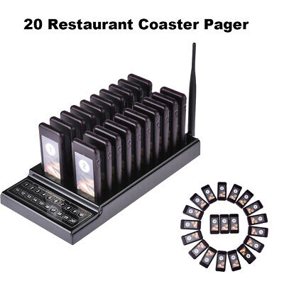 Waiter Paging Queuing Equipment Chargeable 1 Transmitter+20 Call Coaster Pagers
