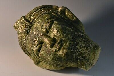 Composite stone head of Egyptian royalty princess goddess uraeus cobra