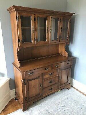Tell City Chair Company Maple Wood Hutch China Cabinet Young Republic 8388 8390