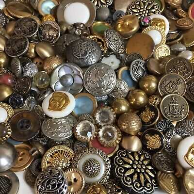 Vintage Gold Silver Tone Button Lot Military Fancy Glass