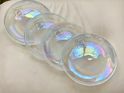(4) New Artistic Accents Pearl White Opal Iridescent Glass Salad Plates Set