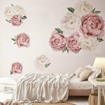 Modern Peony Rose Flowers Wall Art Sticker Decals Kid Room Nursery Home Gift