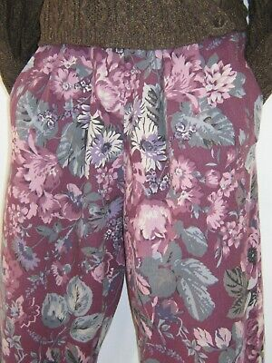 Laura Ashley Vintage Plum Autumn Floral Cotton Wool Casual Day Wear Trousers,10