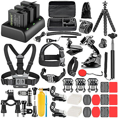 Accessory Kit For GoPro and Battery Charger Set Compatible