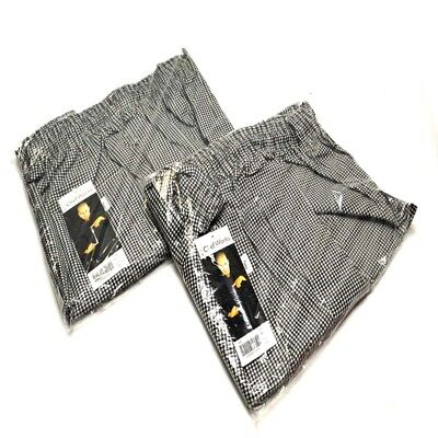 """(2) NEW Chef Works NBCP """"4XL"""" Checkered Baggy Designer chef Pants """"4XL"""""""