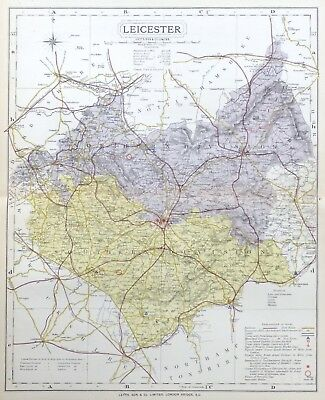 LEICESTERSHIRE, 1884 - Original Antique County Map -  LETTS