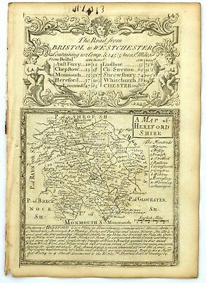 HEREFORDSHIRE, Antique Road County Map, Owen & Bowen 1753.