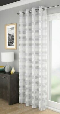 White Leon Silver Stripe Sheer Voile Net Curtain Eyelet Ring Top Single Panel