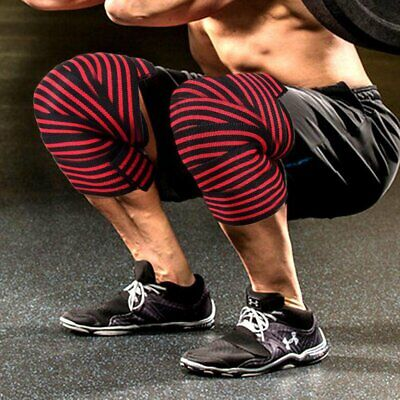 Knee Wraps Wrist Straps Weight Lifting Body Building Gym Training Support Leg