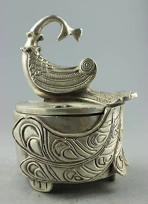 Collectible Decorated Old Handwork Tibet Silver Carved Peacock Incense Burner