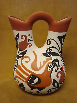 Acoma Indian Pottery Hand Painted Wedding Vase by Keith Sr. PT0251