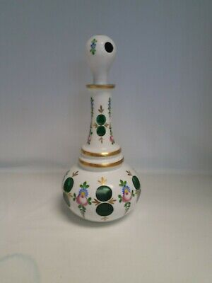 Bohemian Czech Moser Style White Cut to Green Art Cased Glass Decanter