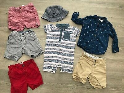 Baby Boys 12-18 Months H&M Nautical Shorts, Romper Summer Holiday Clothes Bundle