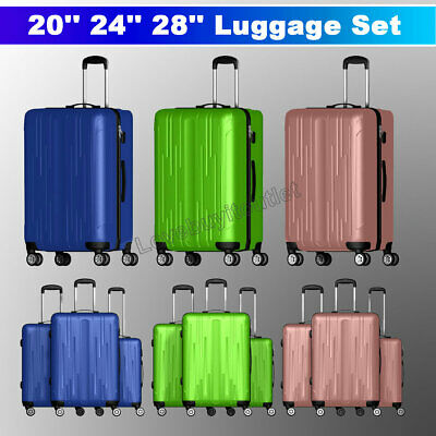 "3 Pieces Luggage Set Travel Bag ABS Trolley Spinner Suitcase w/Lock 20"" 24"" 28"""