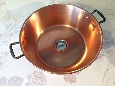Large Vintage French Copper Sink Basin Upcycled From A Jam Pan Cast Iron Handles