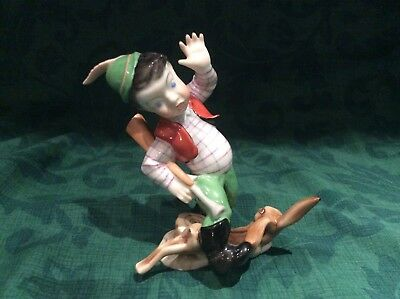 Herend Handpainted Figure No. 5840 Boy Hunting Rabbit Perfect condition
