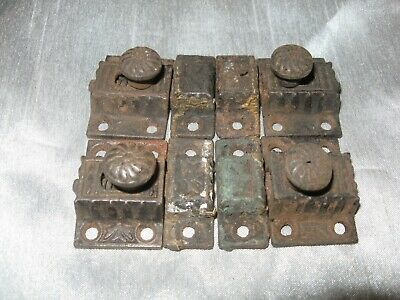 Antique Lot of 4 Cast Iron Ornate Door Latches Hardware