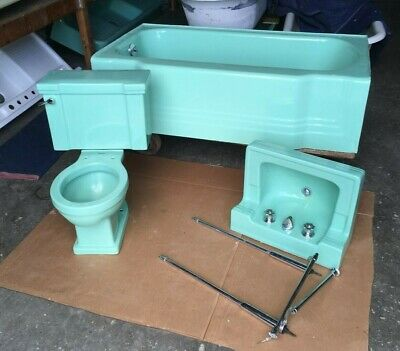 Vtg Mid Century Deco Standard Ming Jade Green Bath Set Tub Sink Toilet 148-19E