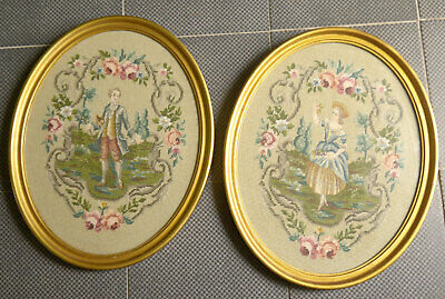Pair of Vintage Completed 18th Century Couple Tapestry in Oval Frames