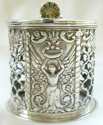 Superb Antique Early Victorian Sterling Silver Mustard Pot - Agricultural Award