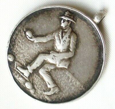 Vintage British Sterling Silver Albert Watch Fob Bacce Ball Medal 8.2 grams