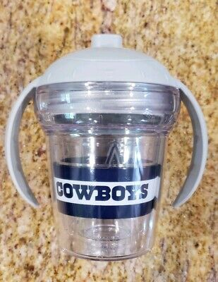 Cute! Tervis NFL Cowboys Sippy cup and lid grey blue 6 oz Clear Pre-owned