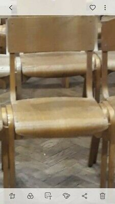 Vintage Old Style Wooden School Chairs