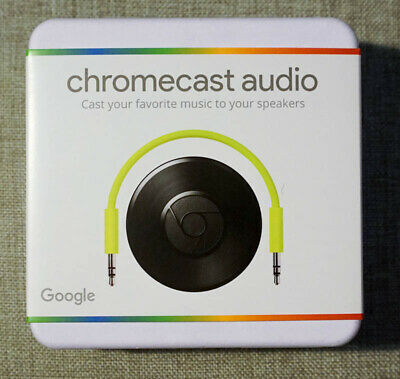 Google Chromecast Audio Media Stream in Black with 3.5mm Cable - Brand New