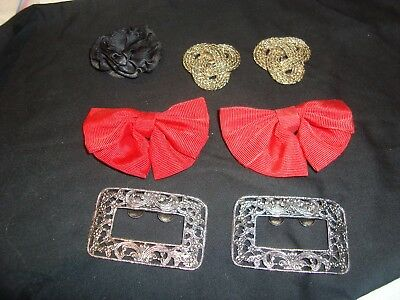 Lot of Vintage Silver/Gold Tone/Red Shoe Clips/Buckles Musi & S.G. D'OR