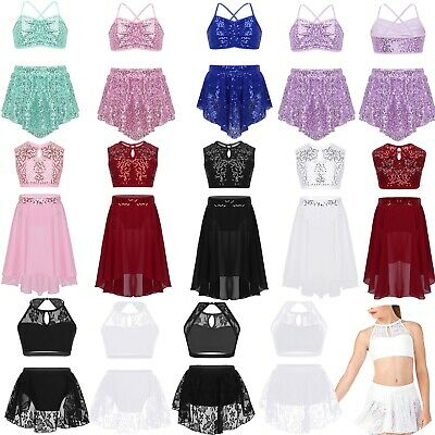 Girls Children's Ballet Dress Tops+Sequins Lace Skirt Dance Costumes Tutu Outfit