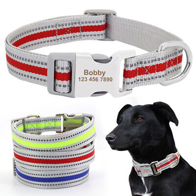 Personalised Nylon Dog Collar Reflective ID Collars for Small Medium Large Dogs