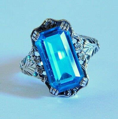 Beautiful Sterling Silver Floral Filigree Blue Stone Antique Design Ring Sz 8.5