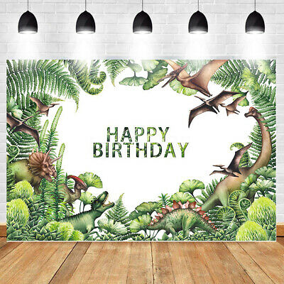 Photography Backdrop Baby Shower Party Birthday Prop Dinosaur Green Background !