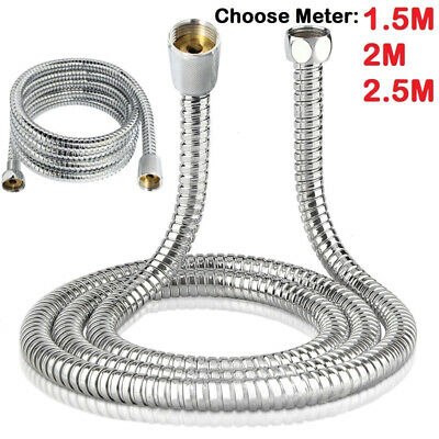 1.5/ 2/ 3M Stainless Steel Flexible Bathroom Bath Shower Head Hoses Pipe Washers