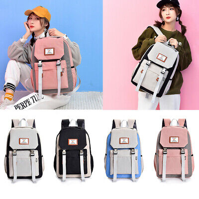 Men's Womens Large-capacity Couple Schoolbag Travel Hiking Color Block Backpack