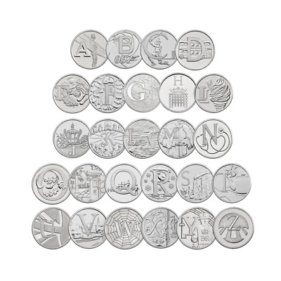 2018 10p UNC Alphabet Letters Full Set A to Z Ten Pence All 26 Letters.
