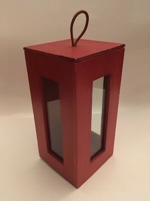 Pair Of Large Ikea Wood & Glass Candle Holder Lanterns