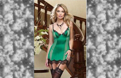 Dreamgirl Emerald Green Satin and Lace Chemise Set, Size XL, 14-18