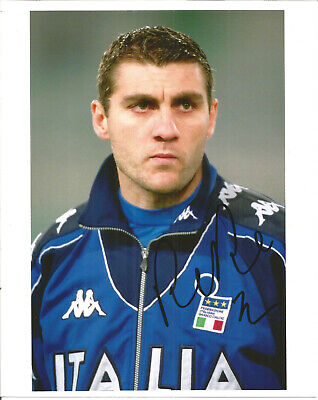 Football Autograph Christian Vieri Italy Signed Photograph & Bio Sheet F1417