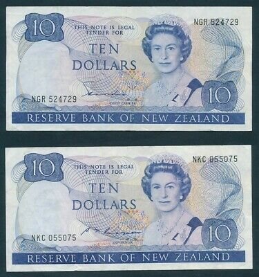 New Zealand: 1981-85 $10 Hardie & Russell QEII PORTRAIT. P172a & 172b VF Cat $65