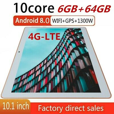 10,1 Zoll 4G-LTE Tablet Android 8.1 6+64G Dual Sim Kamera 10core WiFi GPS PC IPS