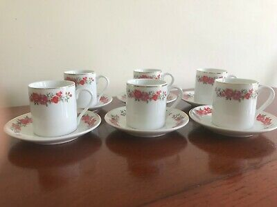 Vintage Retro Set of 6 China Coffee Cups & Saucers Demi Tasse - Red Pink Roses