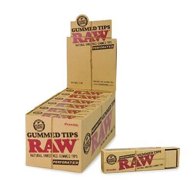 RAW Perforated Gummed Tips - 20 PACKS -  Natural Unrefined Pure 33 Tips Per Pack