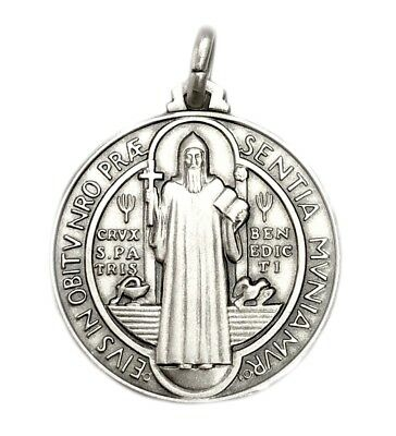 30MM Sterling Silver 925 San Benito Plata St Benedict Medal Necklace Pendant