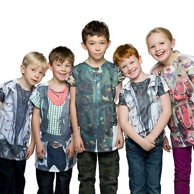 Boys Girls Kids Childrens T Shirt Dress Up Character Cowboy Soldier camouflage