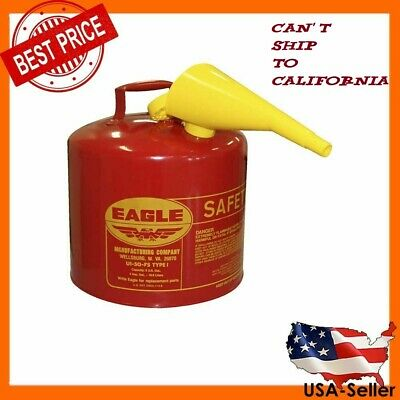 Safety Gas Can >> 5 Gallon Safety Gas Can Eagle Ui 50 Fs Red Galvanized Steel Type I Funnel