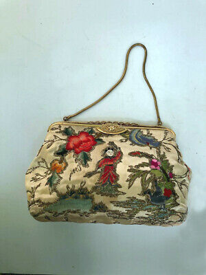 Wonderful Small VTG  antique embroidered satin Chinese theme evening bag purse