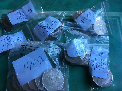 50p Fifty Pence Coins By Date VGC