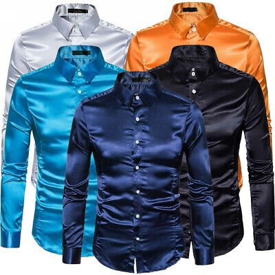 Mens Silk Satin Smooth Tuxedo Shirt Business Casual Wedding Party Slim Fit Tops